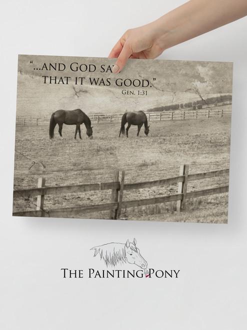 Genesis 1:31 Bible Verse Equestrian Typography Print
