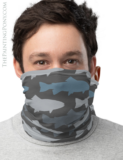 Blue Trout Pattern Fly Fishing Themed Neck Gaiter