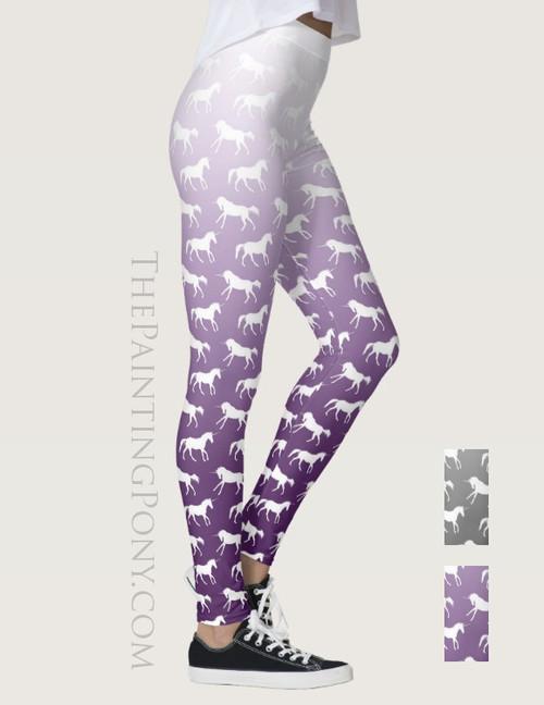 Purple Ombre Unicorn Pattern Equestrian Leggings