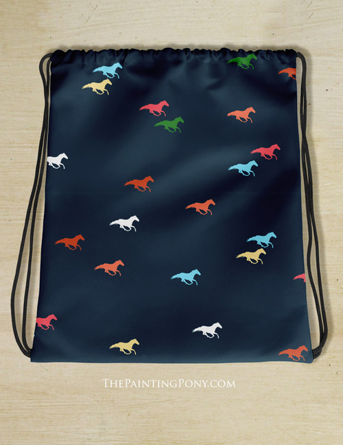 Colorful Galloping Horse Pattern Drawstring Gym Tote Bag
