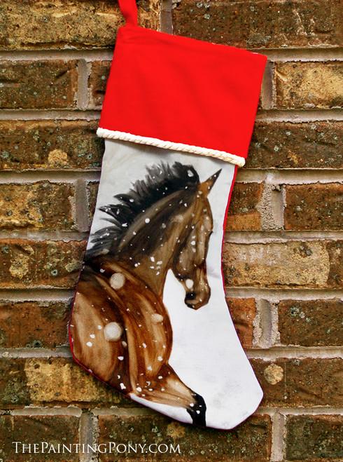 Snowy Bay Horse Head Equestrian Christmas Stocking