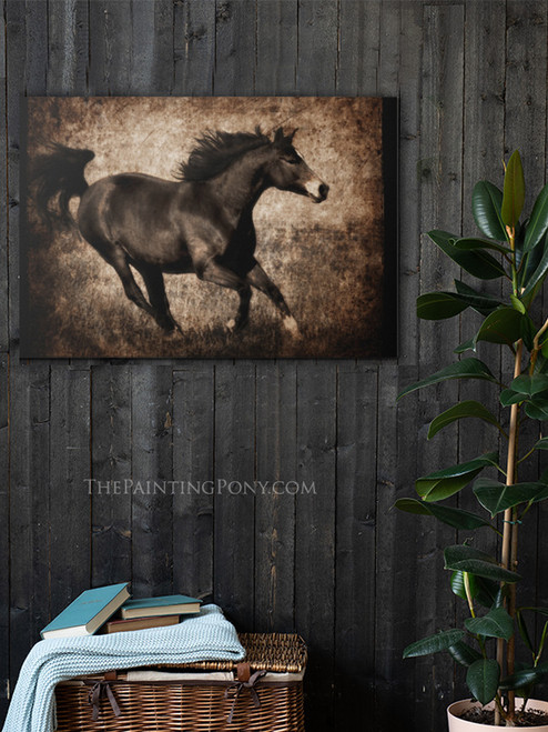 Sepia Toned Galloping Horse Fine Art Gallery Wrap Canvas