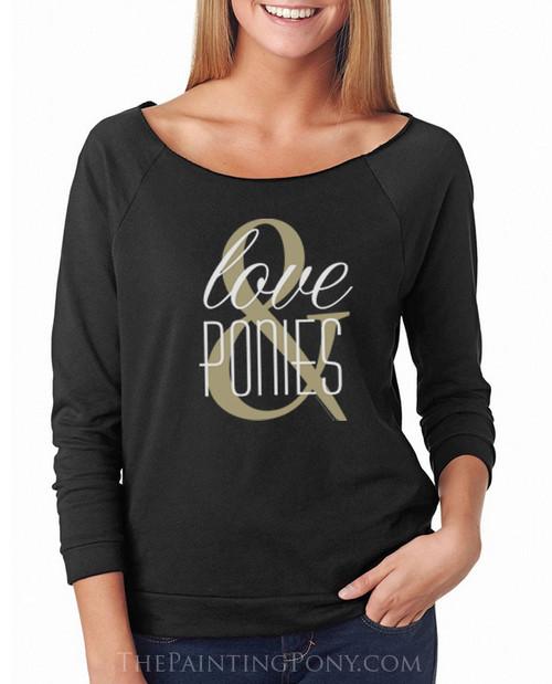 Love and Ponies Equestrian 3/4 Sleeve Women's Raglan Tee