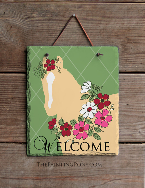 Spring Garden Horse Slate Welcome Sign