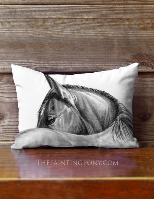 Graphite Horse Head Art Accent Pillow
