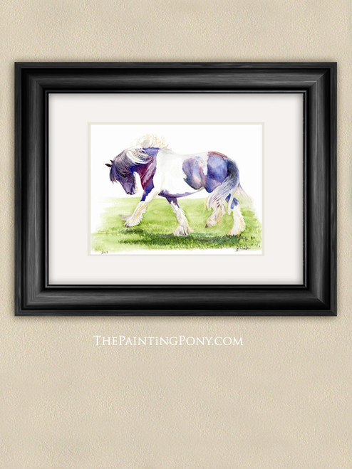 Gypsy Vanner Horse Watercolor Painting Art Reproduction Print