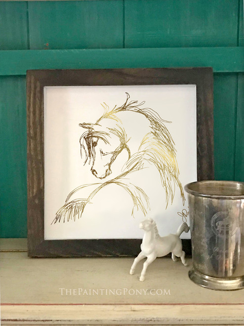 Metallic Gold Foil Horse Head Sketch Art Print