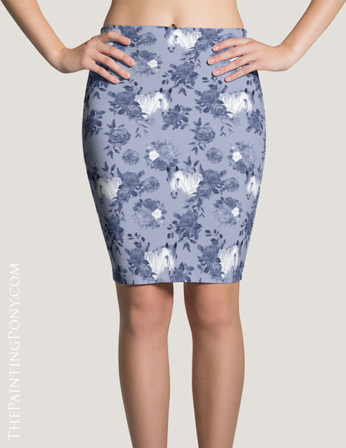 Blue Floral Horse Head Pattern Equestrian Pencil Skirt