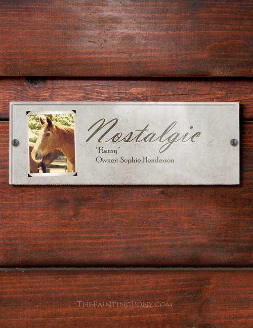 Vintage Photo Acrylic Horse Stall Name Plate