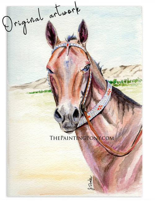 "Original Watercolor Horse Painting ""Metman"" Akhal-teke stallion portrait"