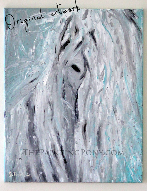 Rain Horse - Original Arcylic on Canvas Abstract Equestrian Painting 16x20
