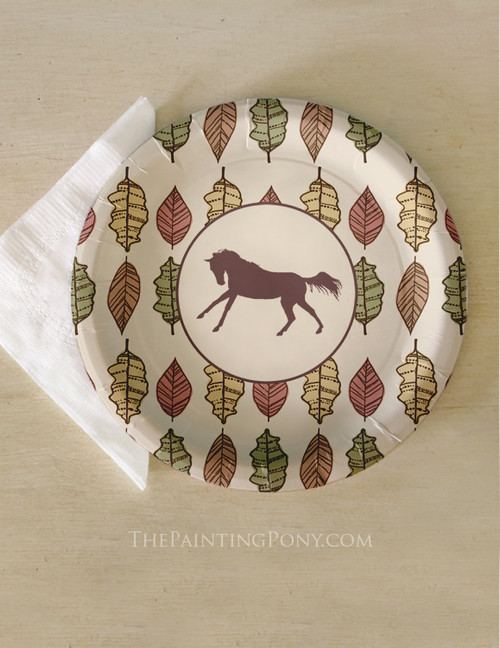 Fall Leaves and Galloping Horse Equestrian Paper Party Plates (8 pk)