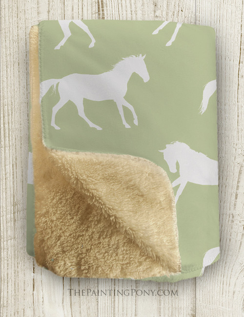 Galloping Horses Sherpa Fleece Throw Blanket (other colors available)
