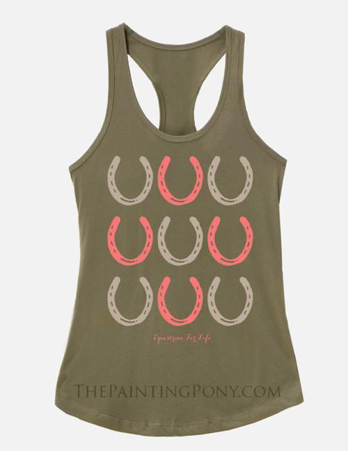 Horse Shoe Pattern Equestrian Racerback Tank Top