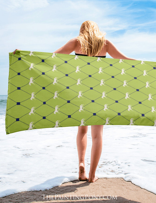 Trotting Horse Argyle Pattern Equestrian Beach Towel
