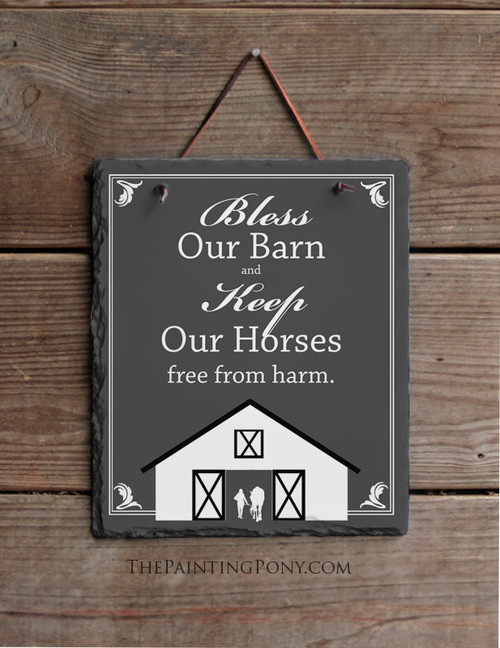 Bless Our Barn Horse Lover Slate Wall Sign
