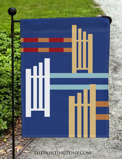 Horse Jumps Art Equestrian Garden Flag