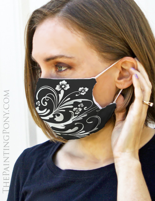 Black and White Chic Floral Design Face Mask Coverlet