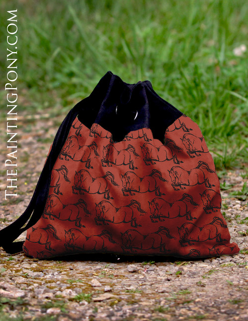 Red Jumping Horse Pattern Equestrian Pattern Sling Tote Bag