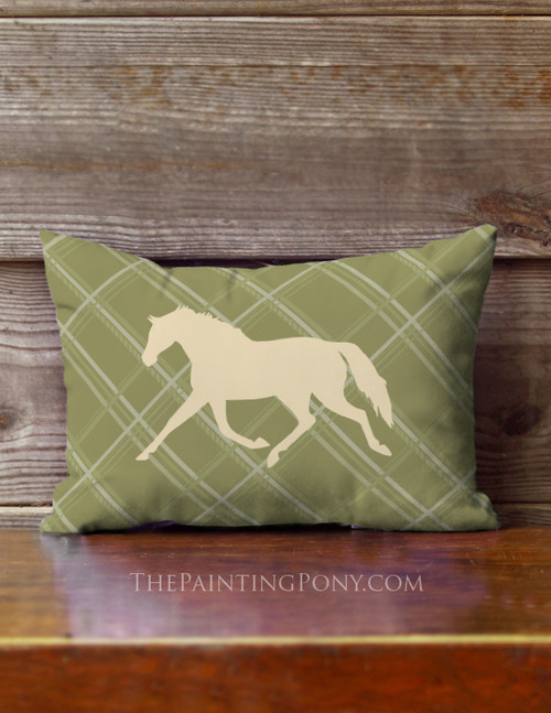 Plaid Trotting Horse Small Accent Pillow