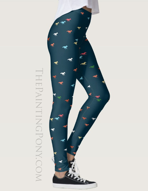 Galloping Racing Horses Pattern Equestrian Leggings