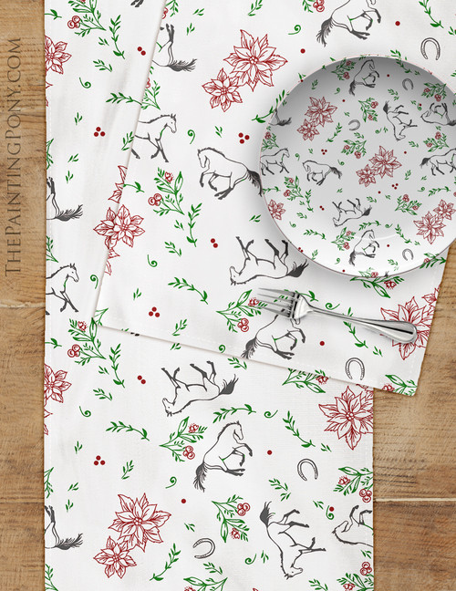 Country Floral Poinsettia and Horses Pattern Christmas Table Runner
