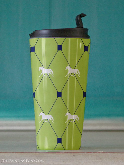 Lime Trotting Horse Argyle Pattern Travel Tumbler