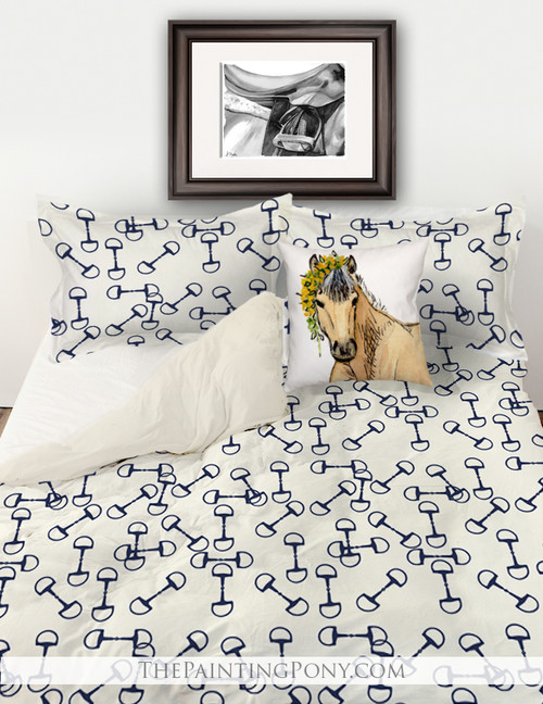 Equestrian Horse Bits Pattern Bedding Set (More Colors Available)