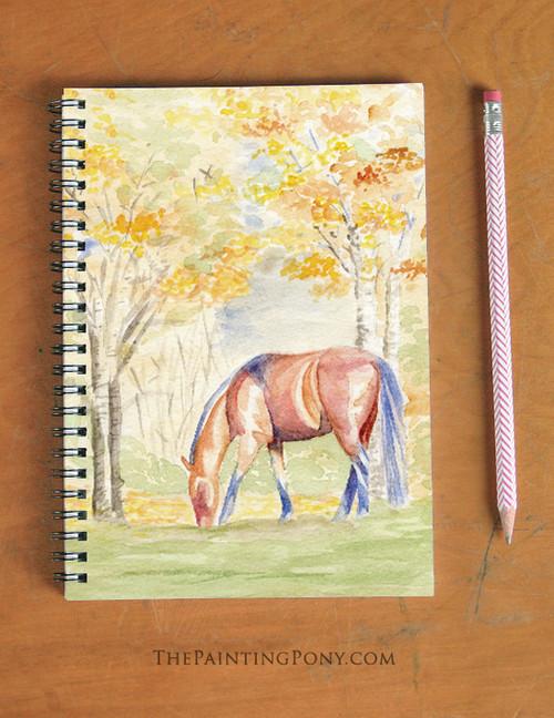 Fall Horse Watercolor Art Spiral Notebook