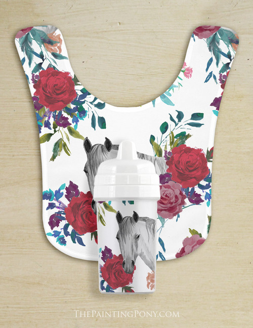 Floral Horse Head Pattern Baby Bib & Sippy Cup Set