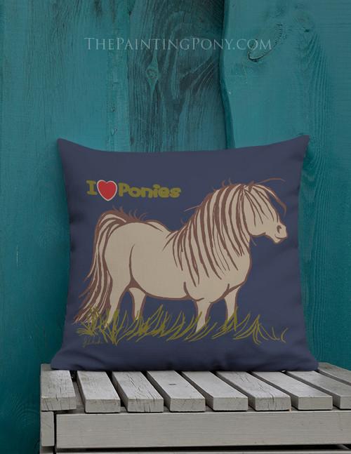 Cute Cartoon Pony Throw Pillow