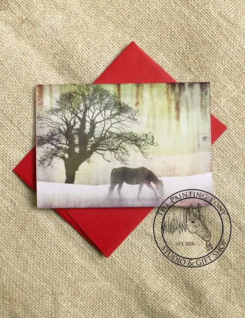 Pretty Winter Snow Horse Christmas Cards (10 pk)