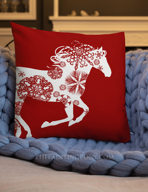 Christmas Snowflake Horse HolidayThrow Pillow