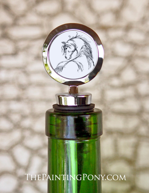 Horse Head Sketch Equestrian Wine Stopper