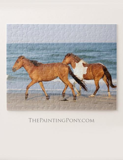 Chincoteague Ponies on the Beach Equestrian Jigsaw Puzzle