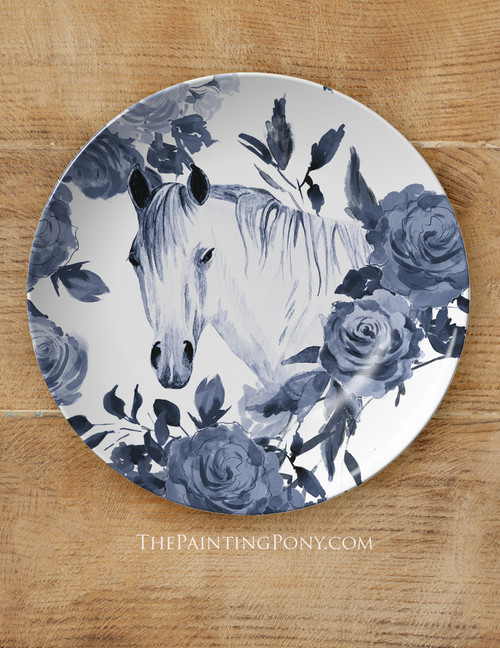 "Blue Floral Horse Head Equestrian 10"" Plate"