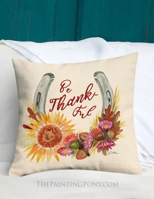 Fall Horse Shoe Floral Art Equestrian Throw Pillow