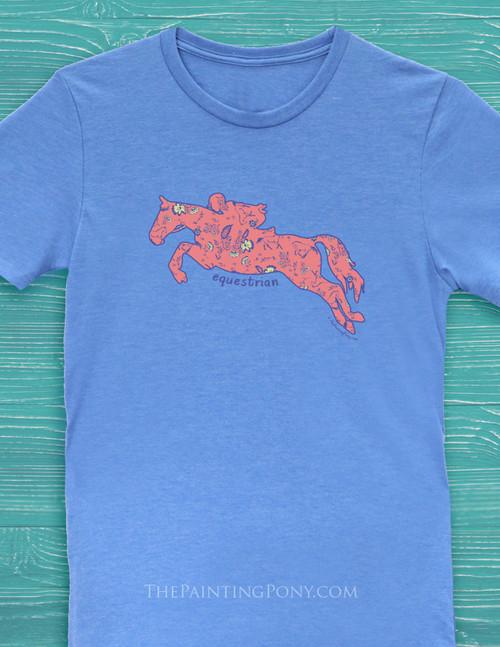 Floral Jumping Horse Equestrian Tee Shirt