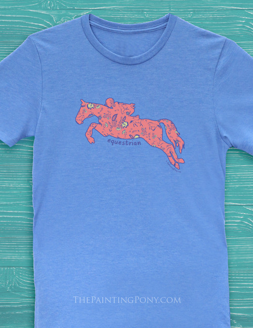 Floral Jumping Horse Equestrian Tee Shirt