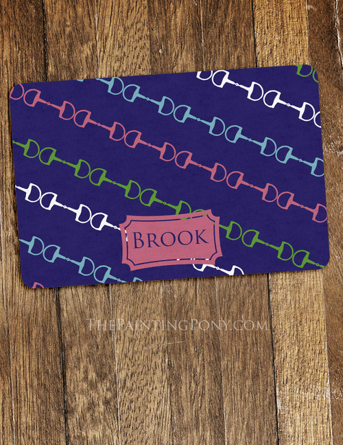 Snaffle Horse Bits Personalized Equestrian Themed Pet Food Mat