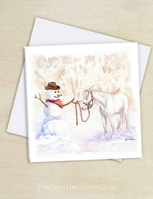 Country Cowboy Snowman Horse Lover Christmas Cards (10 pk)