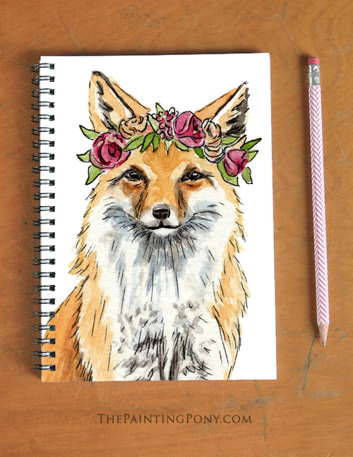 Bohemian Red Fox Art Spiral Notebook