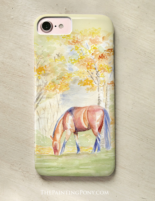 Fall Horse Watercolor Equestrian Phone Case