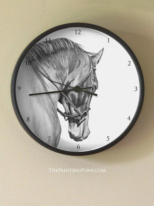 Graphite Horse Head Art Wall Clock