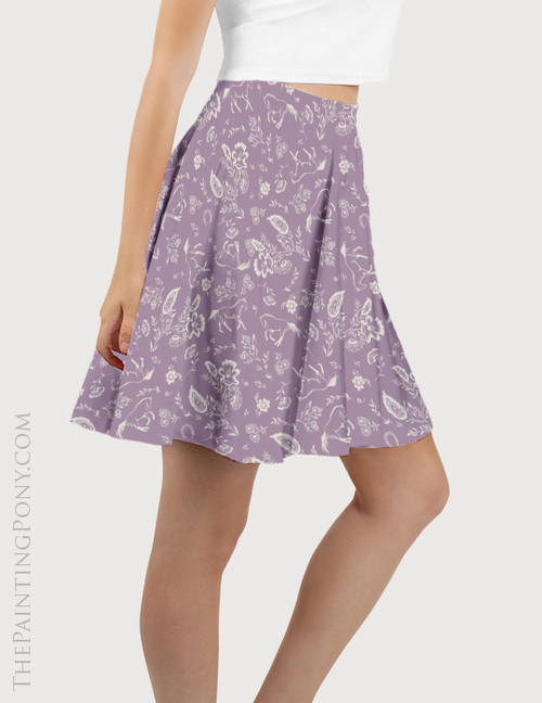 Purple Country Floral Horse Pattern Equestrian Flare Skirt