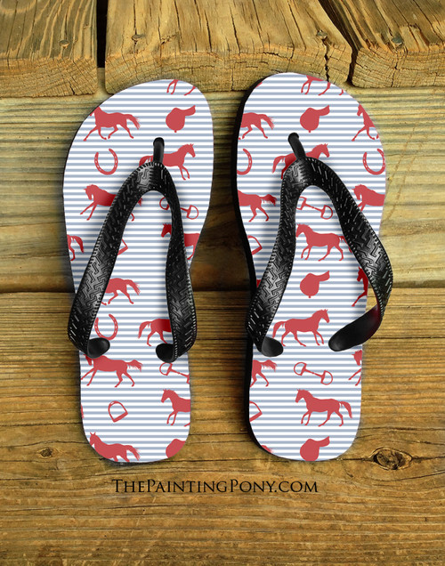English Horse Pattern Equestrian Flip Flops