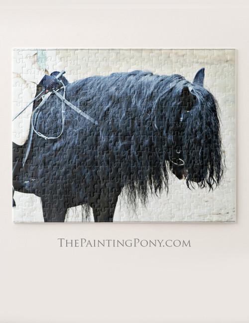 Black Fell Pony Head Detail Equestrian Jigsaw Puzzle
