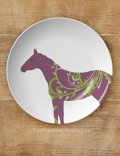 """Fun Colorful Horses Equestrian 10"""" Dinner Plate"""