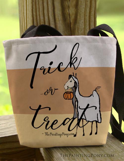 Equestrian Trick or Treat Halloween Ghost Foal Tote Bag