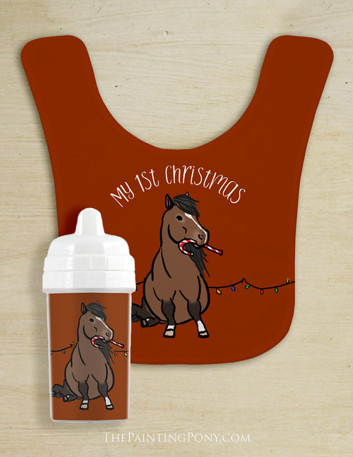 My First Christmas Pony Baby Bib & Sippy Cup Set